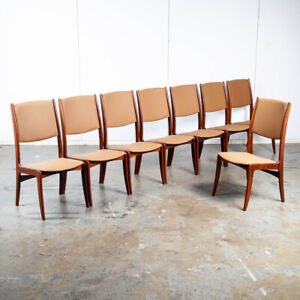 Mid Century Danish Modern Dining Chairs Set 8 Solid Rosewood High Back Tan Brown
