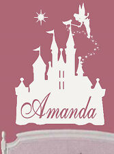 Disney Princess Castle with Tinkerbell Fairy Personalized Wall ART vinyl decal