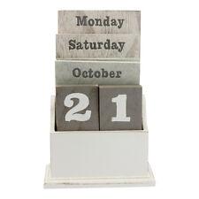 Natural Wood Wooden Calendar Block – Perpetual Gisela Graham Grey Shabby Chic