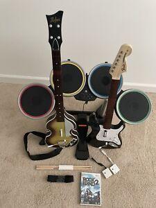 Nintendo Wii Rock Band 2 Drum Set W/ Pedal Guitar Bundle