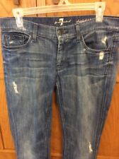 Seven For All Mankind  Womens Capri Cuffed Straight Distressed Size 30 Denim