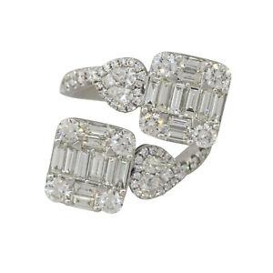 18k White Gold 3.26ctw Multi Shape Diamond Overpass Ring