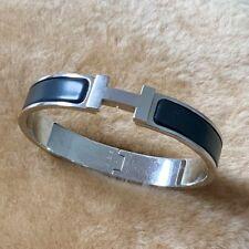 "Hermès Clic Clac HH Bracelet Black Enamel Plated Palladium ""P"""