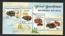 TURKEY 2018 REGIONAL FOODS, MARMARA MAP SOUVENIR SHEET OF 4 STAMPS IN MINT MNH