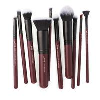 US Jessup Plum Red Cosmetic Brush Face Lip Eyeliner Concealer Set Makeup 10Pcs