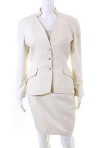 Thierry Mugler Womens Button Up Blazer Jacket Skirt Suit White Size EUR 40