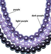 a string glass pearl beads, purple, dark purple, light purple, round, 6 & 8 mm
