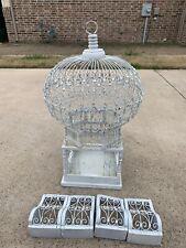 Vtg Antique Victorian Dome Top Bird Cage Birdcage Tunisian Wire Scrolls Shabby