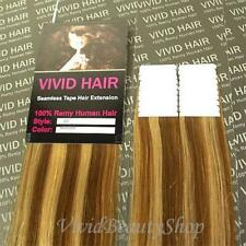 "20pcs 22"" Remy Seamless Tape Skin Weft Human Hair Extensions Light Brown Blonde"
