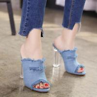 UK Ladies Clear Block High Heel Denim Mules Peep Toe Fashion Sandals Shoes Pump