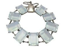 VINTAGE DECO OPEN BACK JAPAN BLUE CRYSTAL BRACELET EMERALD CUT STERLING SILVER