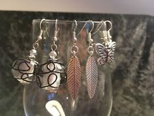 Beautiful Set 3 Pairs Silver Tone Mixed Leaf/Butterfly/Glass Swirl Dangle Earrin