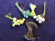 Vintage Millinery Flower Stamen Collection Black Green Yellow 5 Types  H2314
