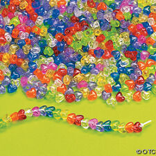 25 Heart Pony Beads Colorful Translucent Plastic 3/8""