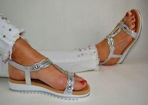 Damen Schuhe Sandalen Sandaletten Silber Weiss Weiß Glitzer Flach Espandrillos
