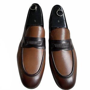 Ermenegildo Zegna Leather Penny Loafers Cognac Sz. 8.5 EEE New
