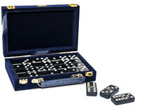 Dominoes Tiles The Cambor Double Six Uria Stone With Brass Spinners Velour Case
