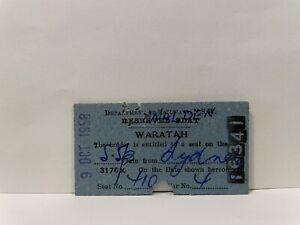 NSWGR Railway Ticket Reserved Seat Waratah  Sydney 1958