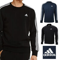 Adidas Men's Crew Neck Essential 3 Stripe Active Pullover Sweatshirt