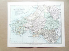South Wales mappa con Le Ferrovie-PHILIPS-ANTIQUARIATO data 1890 - 7inx 9 in (ca. 22.86 cm)