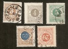 Suède: lot Yvert Taxe N° 16-17-18-21-38 (1872/85) cat val 20€
