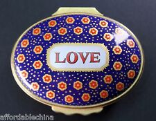 Halcyon Days Enamels Love Blue Red Flowers Oval Box - Rare Color Combination