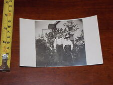 RARE OLD VINTAGE POSTCARD RPPC REAL PHOTO HUSBAND WIFE IN GARDEN SINGLE