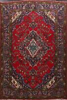 Vintage Geometric Red Tebriz Hand-Knotted Area Rug Living Room Wool 7x10 Carpet