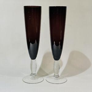 Set of 2 Vintage Plum Amethyst Champagne Flutes Clear Hand Blown Air Twist Stems