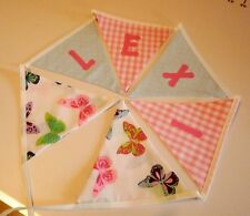 Personalised Name Bunting, Butterfly Pink Blue, £1.25 PER FLAG