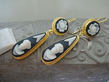 TAGLIAMONTE Designs (PRT313) 925SS/YGP Porcelain Cameo Earrings *Victorian Lady*