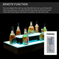 2 Layer LED Corner Liquor Bottle Display Shelf  Lighted Color Changing W/ RC