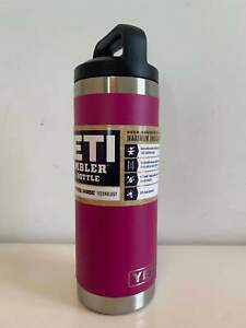 New YETI Rambler 18 Oz Water Bottle Insulated With Black Lid Prickly Pea Pink