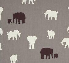 SERENGETI ~ Premium Organic Cotton~ AFRICAN ELEPHANTS~ Birch~ Fabric~ per 1/2 yd