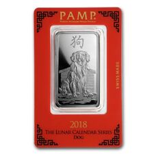 Lingot Suisse PAMP Chien 1 Once argent / 1 Ounce Oz DOG 2018 Fine Silver Bar 999