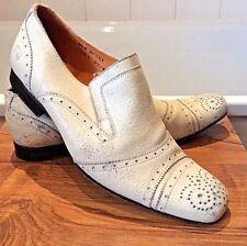 Frank Wright ~'Joel' white antiqued/ vintage leather brogue sli-on shoes UK 7