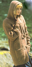 """Cable Duffle Hood Jacket with Pockets  DK 28"""" - 40"""" ~  Knitting Pattern"""