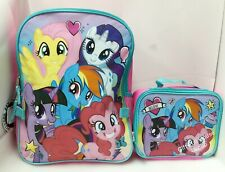 """My Little Pony 16"""" Large Backpack With Detachable Insulated Lunch Bag 2pcs"""