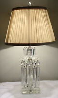Antique PAIR French Georgian Crystal Lusters Luster Lamp Cur Crystal Table Lamps