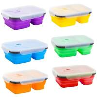 Portable Silicone Food Lunch Box Bowl Bento Boxes Folding Collapsible Storage