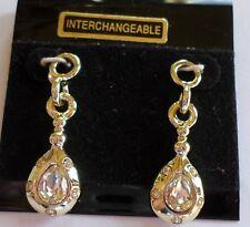 2 Interchangeable Long Drop Made w/ Swarovski Pendants Charms Earrings Craft New