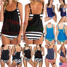 Women's Tankini Bikini Set Push-up Padded Swimsuit Bathing Suit Swimwear US