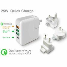 USB C Fast Charge Travel Charger Adapter Plugs 3-Ports Macbook Pro UK US EU AU