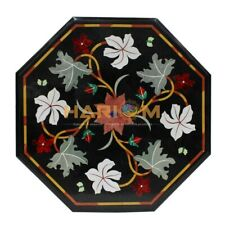 """18"""" Marble Black Coffee Table Top Mosaic Handcrafted Inlay Living Room Deco B189"""