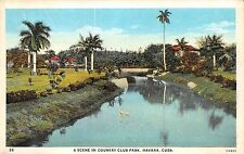 HAVANA CUBA SCENE IN COUNTRY CLUB PARK NATIONAL TOURIST COMM. POSTCARD c1920s