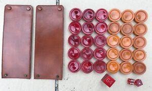 "Mid Century Backgammon Chips 30 Red Swirl & Butterscotch 1"" Betting Cube EC NR"