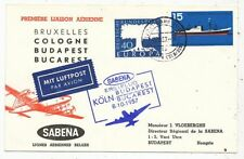 TIMBRE STAMP ZEGEL FDC AVION  SABENA 1er VOL BUDAPEST-BUCAREST 8-10-1957