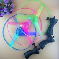 New LED Flashing Plastic Pull String Flying Saucer Propeller Toy Disc Helicopter