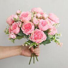Wedding Home Decor Rose Peony Fake Artificial Flowers 5 Big Heads Rose Bouquet