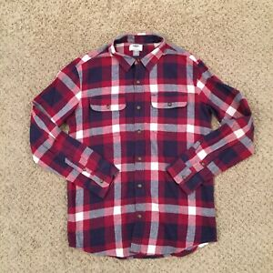 Old Navy Boys XL (14-16) Red/Blue Plaid Long Sleeve Button Front Flannel Shirt